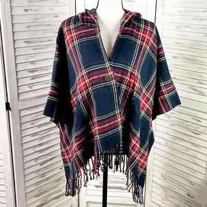 Plaid Hooded Fringe Button Poncho One Size